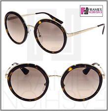 PRADA CINEMA Round EVOLUTION Oversized Sunglasses 50T Brown Tortoise Gold PR50TS