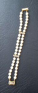 Echt Perlen Armband Mit 585er Gold,  2 Reihen
