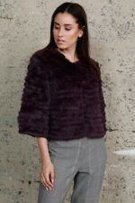 DOLCE CABO CROP SLEEVE FUR PURPLE JACKET - Size S