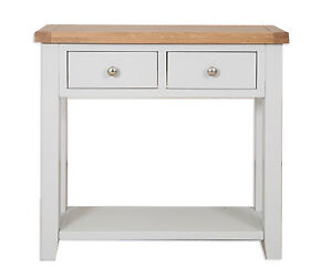 Canberra French Grey/Chunky Rustic Oak Top 2 Drawer Console Table Assembled