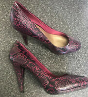 M&S Limited Collection UK 5.5 Pink Black Snake Print Court Shoes Animal Event