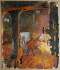 Russian Ukrainian Soviet Painting soc realism steel factory working man smelter