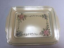 """Homer Laughlin Century 15"""" Ivory Platter with Blue Stripe Hand Painted Floral"""