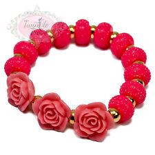 Vintage Resin Flower Bracelet Bangle. Stretchable Adjustable Beaded Bridesmaid
