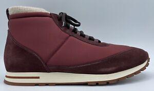 $1,200 Loro Piana Maroon High Tops Sneakers size US 11, EU 44 Made in Italy