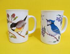 Valerie Pfeiffer Capilano Coffee Tea Two Mugs Blue Jays & Chickadees Birds