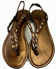 Montego Bay Club Size 10 Bronze Starlet Sandals Jewel Embellished Thong Flats