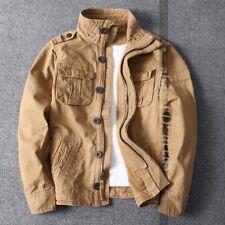 Sz S-2XL Men Camo Combat Jacket Stand Collar Military Pockets Outdoor Short Coat
