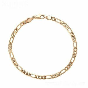 "9ct 9K YELLOW ""Gold Filled"" Ladies 4mm Curb Link Bracelet 8.5"", Mens Girls, UK"