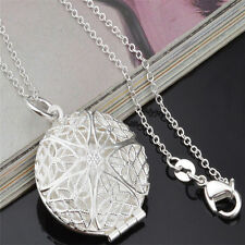 NEW Silver openable keepsake Jewelry Hollow Photo Frame Pendant Necklace Jewelry