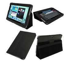 "BOOK COVER ULTRA SLIM IN PELLE PER SAMSUNG GALAXY TAB2 10"" P5100 P5110 NERO"