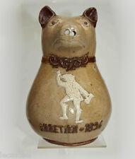 rare pichet à cidre normand zoomorphe au chien - estaminet chrétien 1894