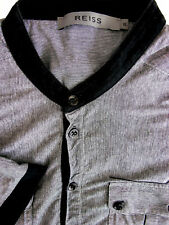 REISS T-Shirt Mens 16 M Grey - Black Trim SHORT SLEEVE