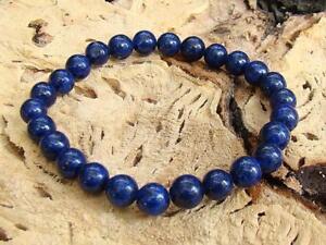 Men's Elastic Bracelet all 8mm BLUE LAPIS LAZULI gemstone beads