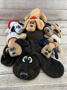 """Vintage Lot Of Pound Puppies Plush Tonka 1 Large 18"""" 5 Small Dogs Diaper READ"""