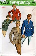 1970s Simplicity Sewing Pattern 9598 Teen Boys Set of Fitted Jackets Size 20