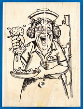 Miss Tickle Rubber Stamp by Diamonds - Funny Nurse Sponge Bath Get Well Soon