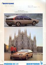 BERTONE MAZDA MX-81 1982 mercato italiano originale stampa KIT + 4 foto
