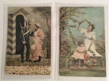 2 POSTCARDS FROM MALTA ALLETTA POSTED 1907 & 1908 SWEETHEART & CHILD-SOLDIER