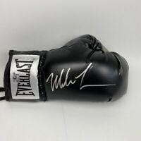 Autographed/Signed MIKE TYSON Imperfect Black Everlast Boxing Glove Hologram COA