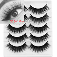 SKONHED 5Pairs*3D Mink Hair False Eyelashes Wispy Fluffy Multilayers Eye Lashes