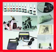 Top Rated Complete Tattoo Kit Machine Gun 11 Color Inks Needles Power Supply T2
