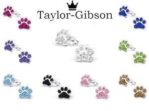 925 sterling silver dog cat earrings studs paw print Women Kids Leopard Tiger