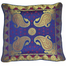 2x Blue Cushion Covers Antique Style Banarasi Silk Gold Paisley 40cm Square