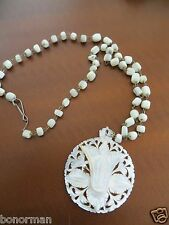 ANTIQUE MOTHER OF PEARL SHELL MOP CARVED FLOWER NECKLACE PENDANT
