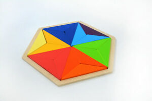 Hexagon Wooden Puzzle 18 piece Ages 3 + for Cognitive Development
