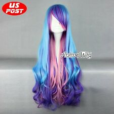 My Little Pony Princess Celestia Blue Mix Purple Pink Long Curly Cosplay Wig