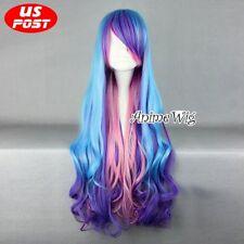 Anime My Little Pony Princess Celestia Blue Mix Purple Pink Curly Cosplay Wig