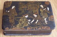 CHINESE SCENE ANTIQUE PAPIER MACHE BOX c1890