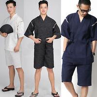 Japanese Summer Men Jinbei Kimono Short Sleeve Pants Sleepwear Pajama Loungewear
