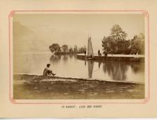 France, Annecy, L'ile des cignes Vintage Albumen Print, France Tirage alb