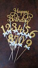 Set‼️ 2 Zahlen +‼️ 1 Happy Birthday Cake Topper,Kuchenstecker Zahlen, Deko🍀GOLD