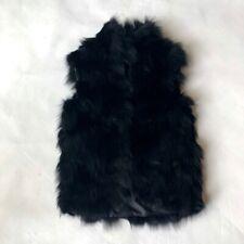Adrienne Landau black fox fur gilet small UK8 UK10 netaporter