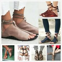 Women Gladiator Open Toe Roman Shoes Casual Lace Up Pumps Sandals Summer Shoes