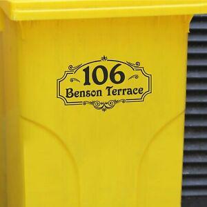 Wheelie Bin Vinyl Stickers - Number & Road Name or House Name - Vintage Retro