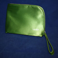Creme de La Mer Logo Cosmetic Makeup Bag / Case Green Satin Zipper