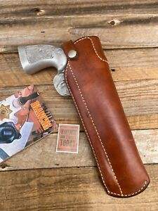 """Vintage Bianchi 129 Brown Leather Cross Draw Holster For 5"""" 6"""" 44 Revolver SA DA"""