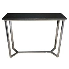 NEW BLACK GRANITE CONSOLE TABLE WITH POLISHED STEEL BASE ENTRY TABLE GRANITE