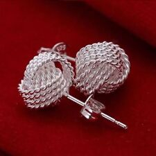 LADIES WOMENS 925 STERLING SILVER TWISTED MESH KNOT STUD EARRINGS UK