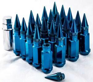 92mm AodHan XT92 12X1.5 Steel Blue Spiked Lug Nuts Fits Toyota Yaris Mr2 Corolla