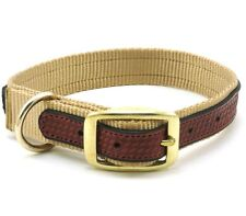 "WEAVER Traditions West Nylon Dog Collar, Leather Overlay, 17"" x 1"", Sand"
