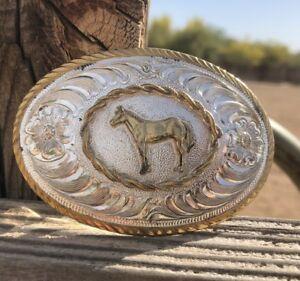 Western Buckle - Horse in Center - Award Design Silversmith Collection - smaller