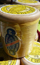 "Mercerie ancienne, ancienne bobine bois de lin extra fort ""DV"" n°24, Jaune"