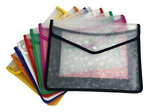 A4 Plastic wallet Stud Document File Folder School Office paper storage x 1