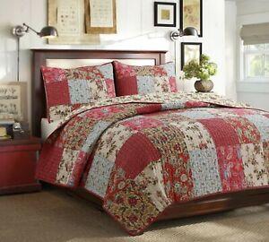Adeline Patchwork Reversible Cotton Quilt Set, Bedspread, Coverlet