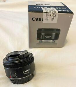 Canon EF 50mm F1.8 STM Autofocus Prime Lens - with Box, Front & Rear Lens Caps